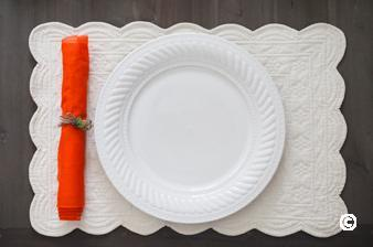 plate and red napkin